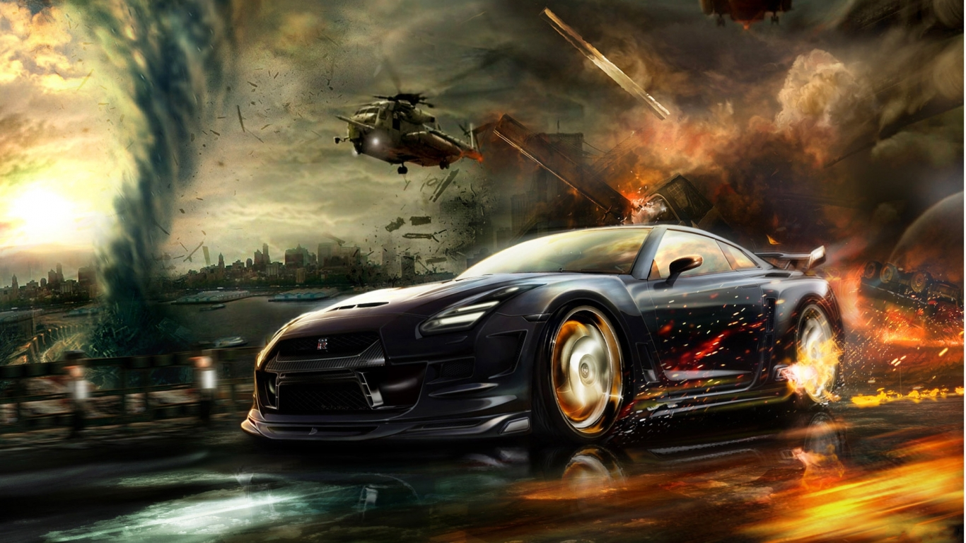 Carbon Nissan Gtr Vs Helicopter P Hd Wallszone 714171 Wallpaper wallpaper