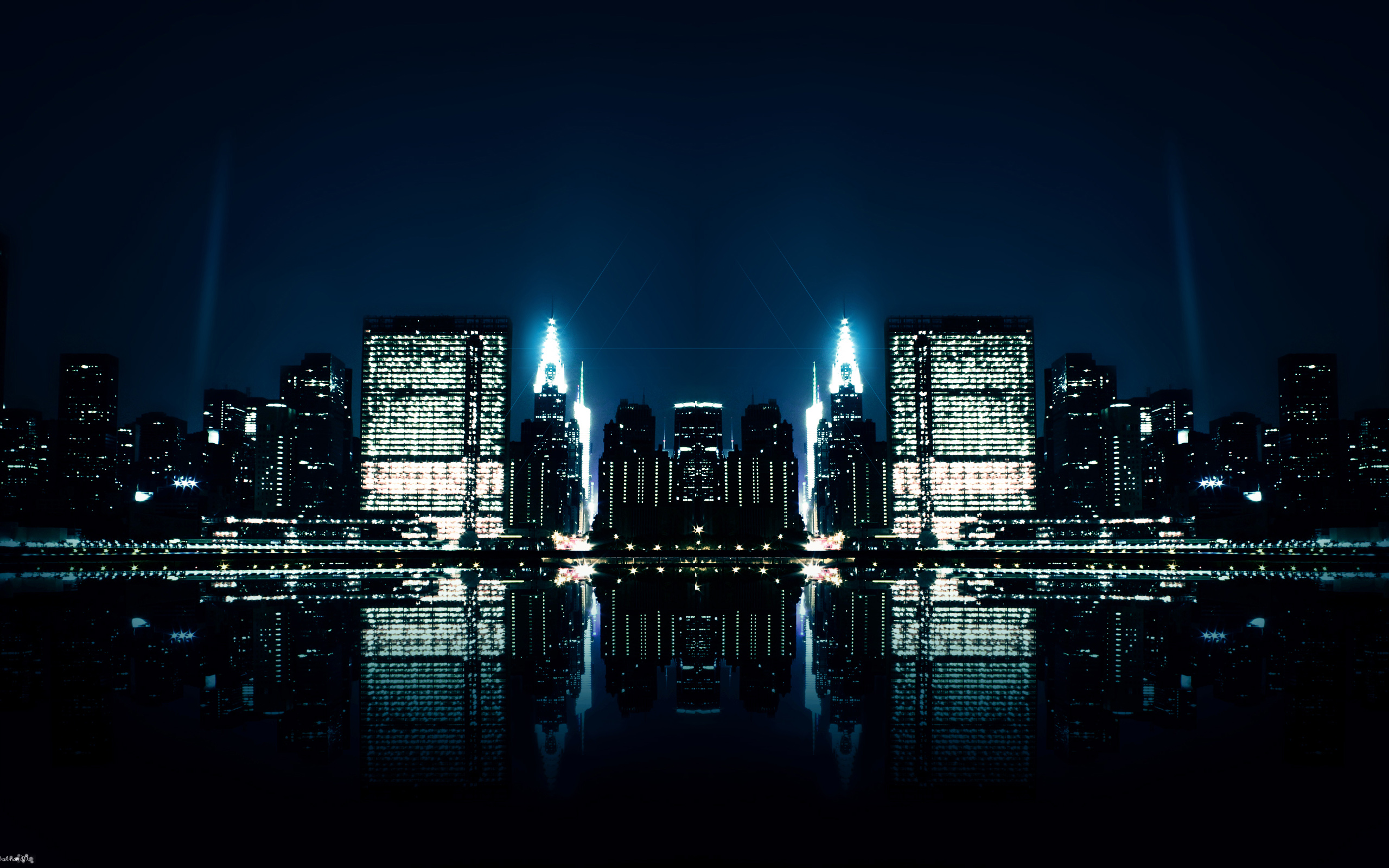 City Night Reflections Wallpaper